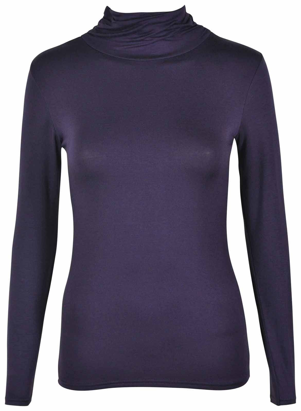 LADIES-BASIC-GATHERED-POLO-ROLL-NECK-NEW-WOMENS-LONG-SLEEVE-STRETCH-CASUAL-TOP