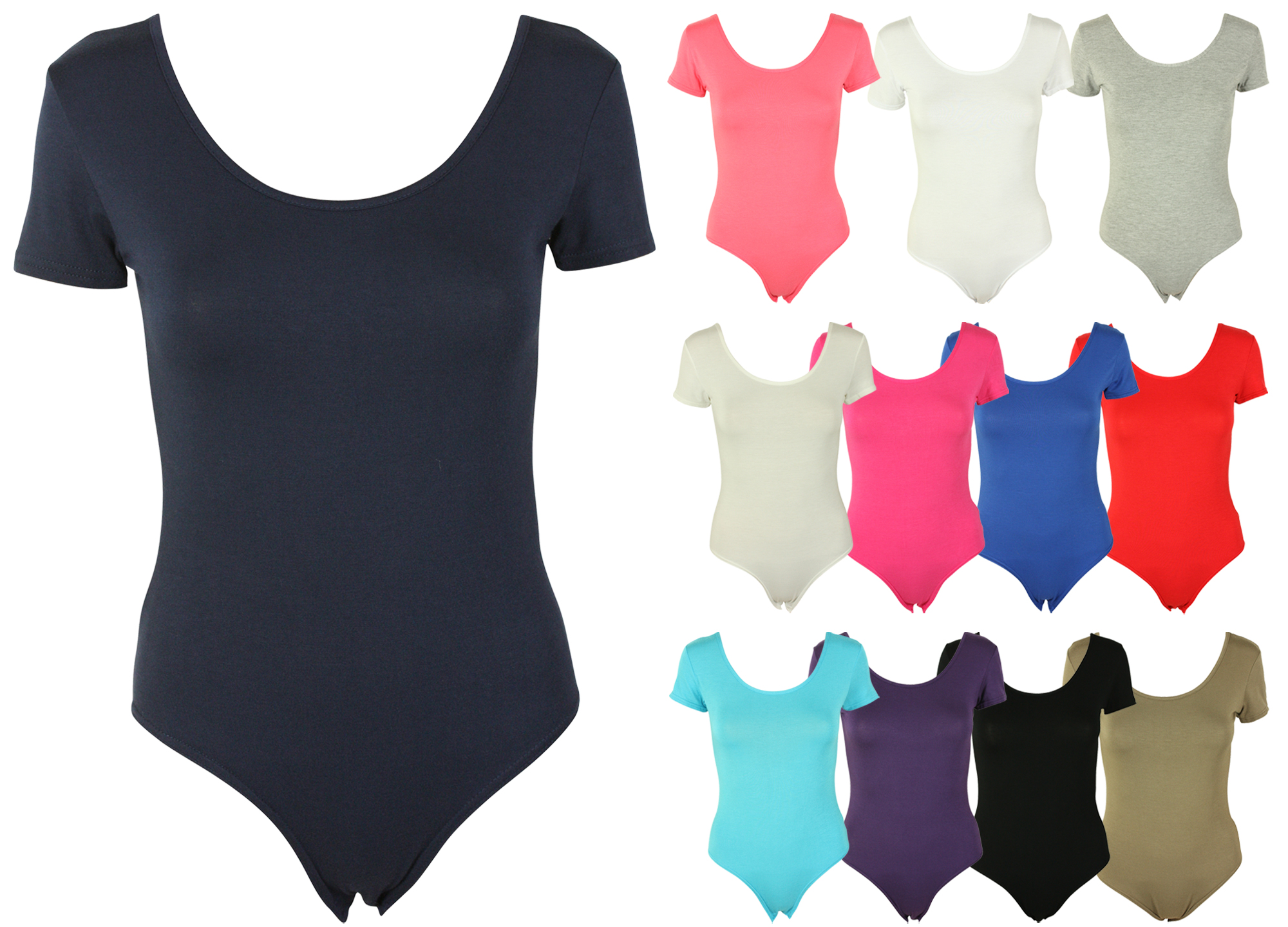 NEW LADIES STRETCH PLAIN BODYSUIT TOP WOMENS SHORT SLEEVE CASUAL LEOTARD 8 - 14