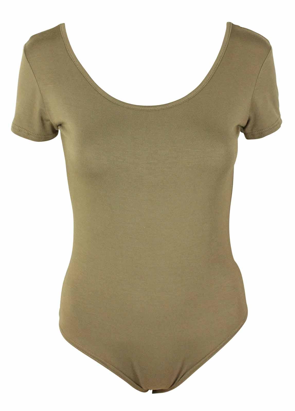 WOMENS-STRETCH-PLAIN-LEOTARD-LADIES-SHORT-SLEEVE-BODYSUIT-TOP-PLUS-SIZE-16-26