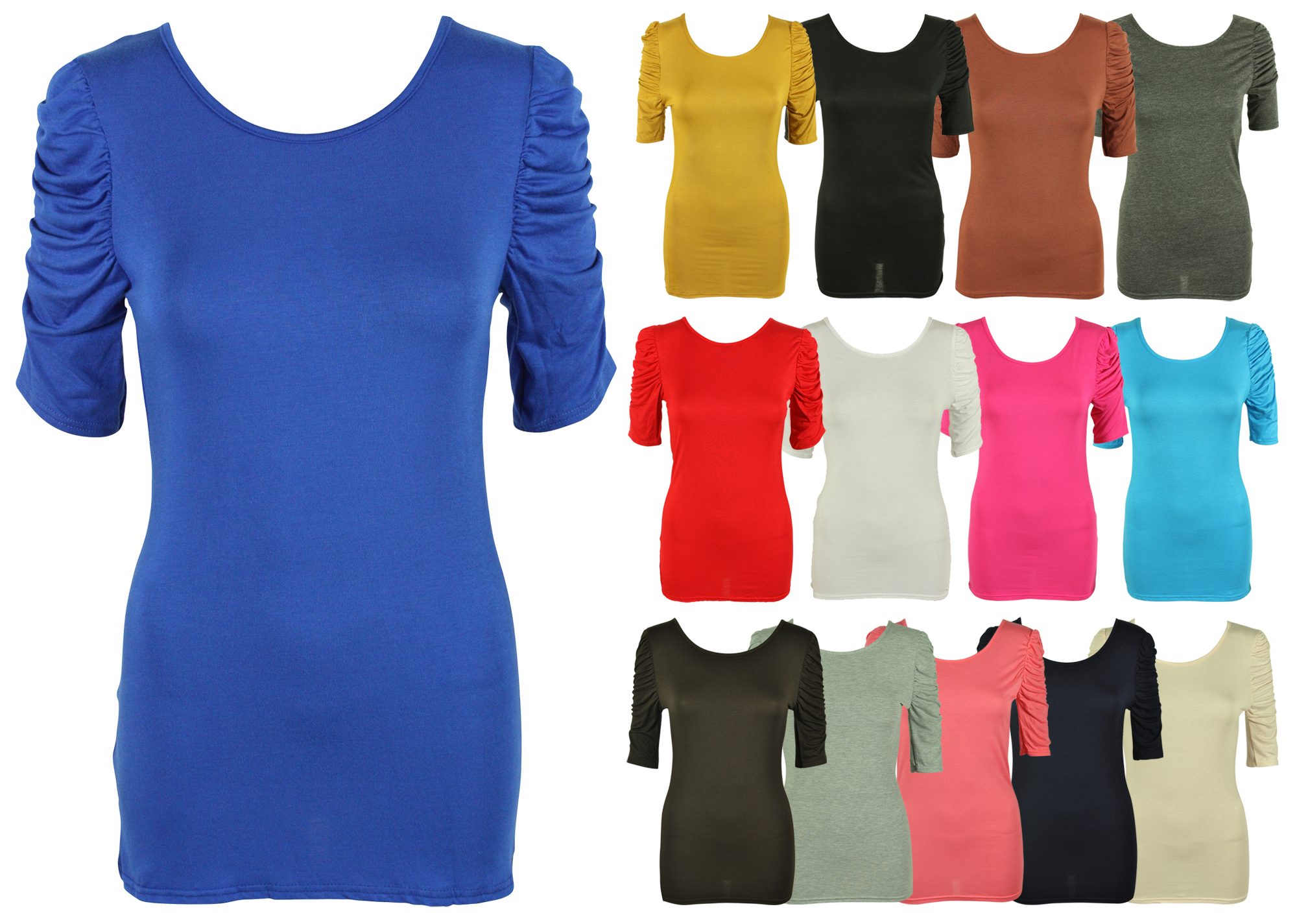 Ladies new ruched gathered sleeve t shirt womens plain for Long t shirts for ladies online