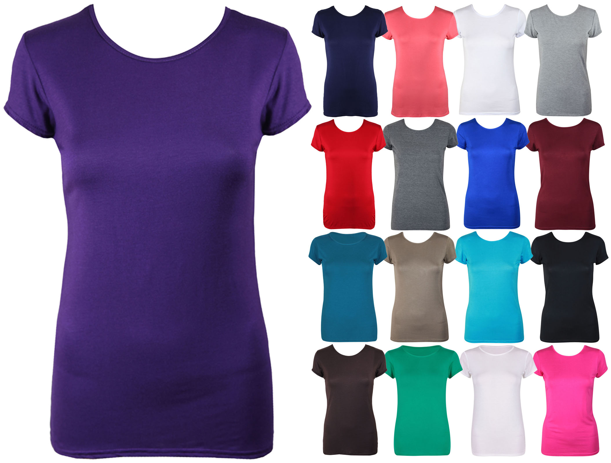 Womens New Plain Stretch Fit Crew Neck Top Ladies Short
