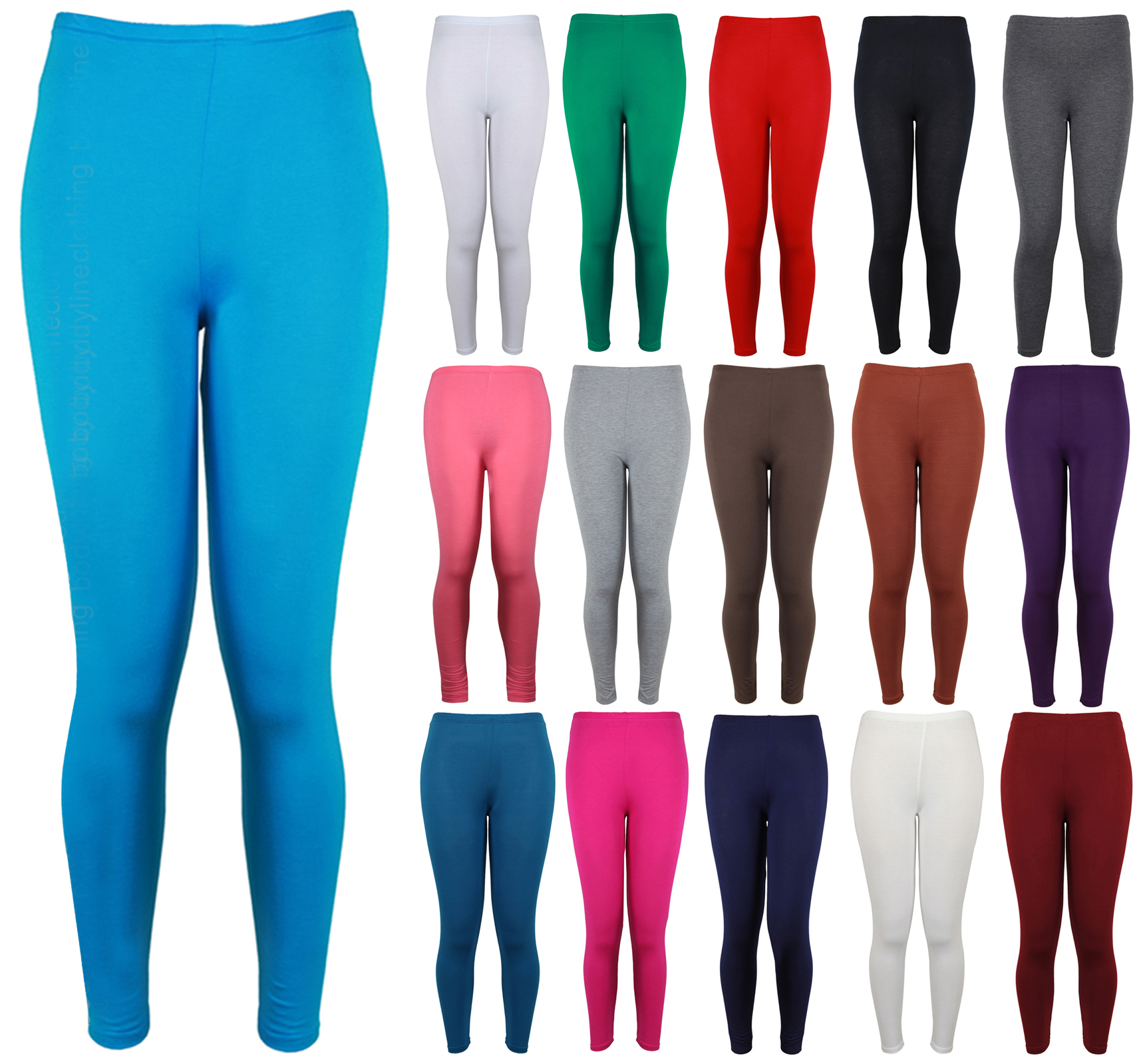 Womens New Plain Stretch Ladies Full Long Trousers Pants Leggings Plus Size