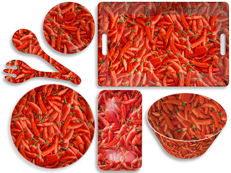Splash red hot chilli peppers photoprint melamine bowls for Funky canape trays