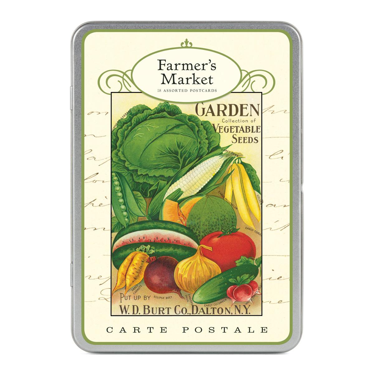 cavallini carte postale farmer 39 s market tin of 18 postcards 9 designs ebay. Black Bedroom Furniture Sets. Home Design Ideas