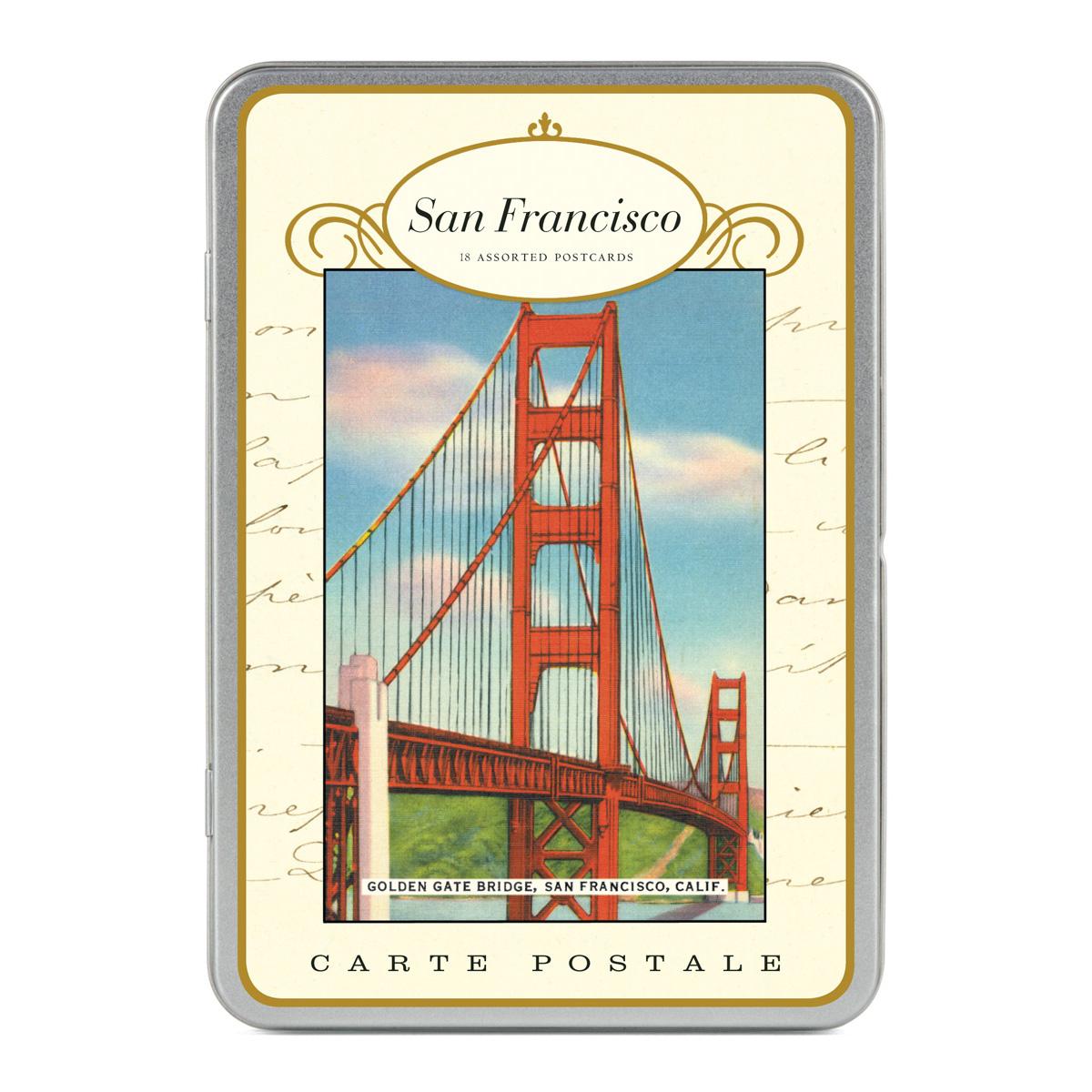cavallini carte postale san francisco tin of 18 postcards 9 designs ebay. Black Bedroom Furniture Sets. Home Design Ideas