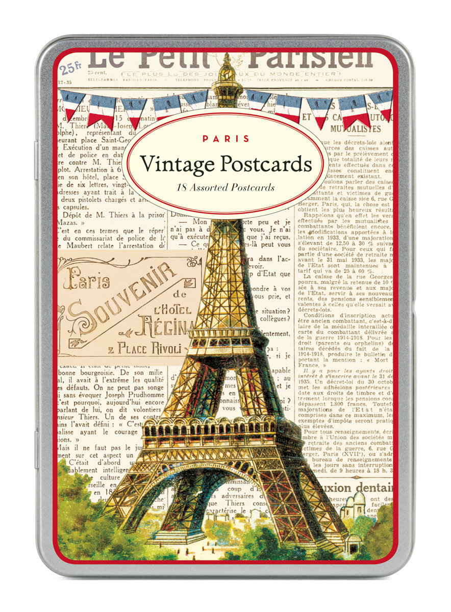 cavallini carte postale paris eiffel tower tin of 18 postcards 9 designs ebay. Black Bedroom Furniture Sets. Home Design Ideas