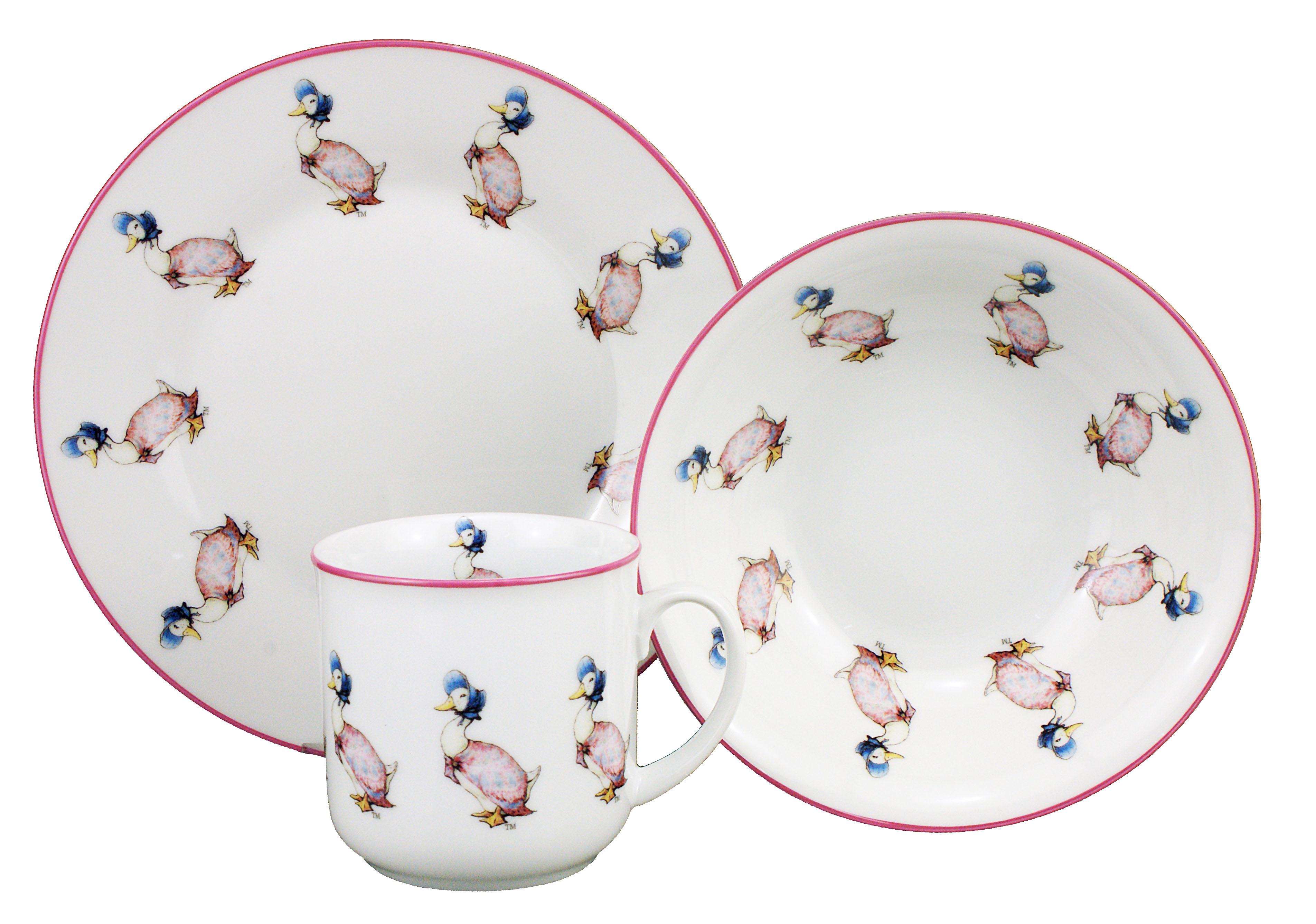 jemima puddleduck 3pc porzellan geschirrset set becher schale platte reutter ebay. Black Bedroom Furniture Sets. Home Design Ideas