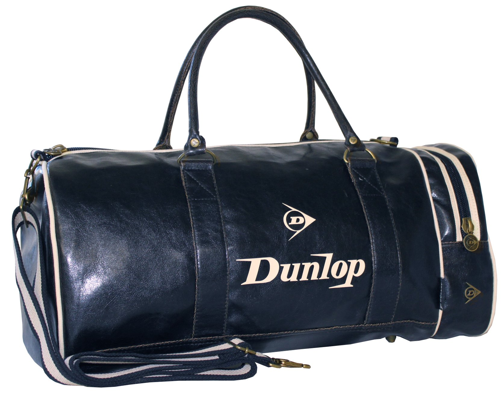 dunlop retro gym holdall sports weekend barrel shoulder bag navy blue cream ebay. Black Bedroom Furniture Sets. Home Design Ideas