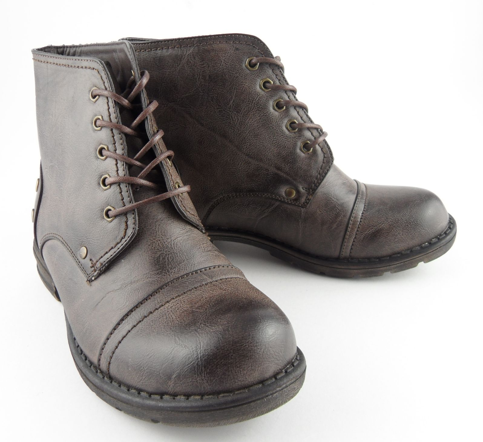 boys brown leather look military army fashion combat boots
