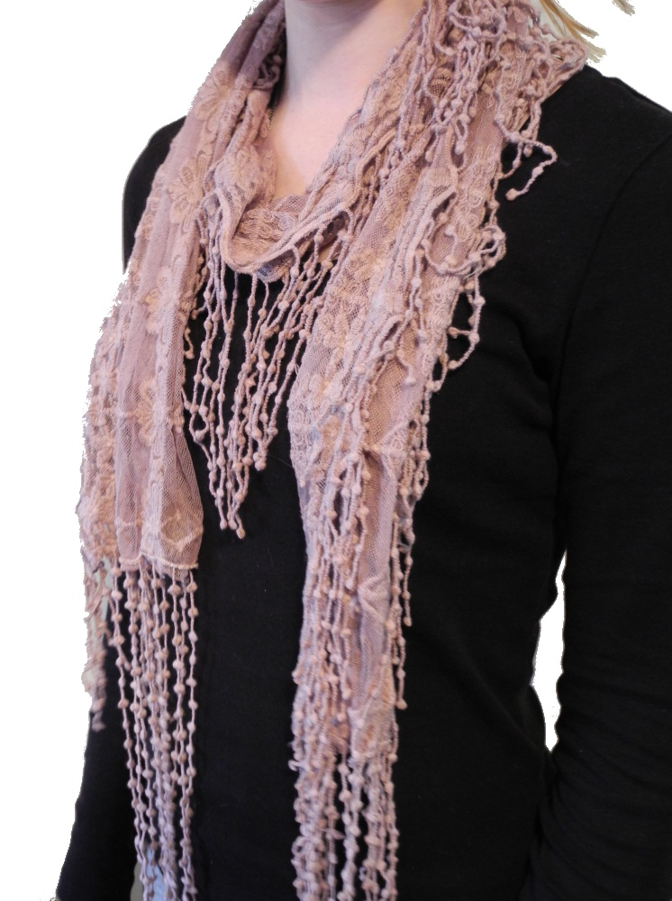 womens vintage lace style lacy scarf black
