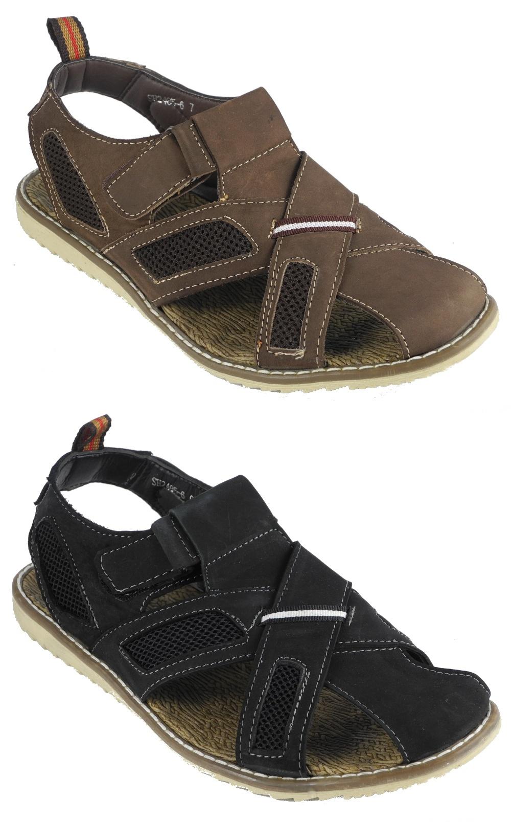 Black jesus sandals - Image Is Loading Mens Nubuck Leather Closed Toe Velcro Jesus Sandals