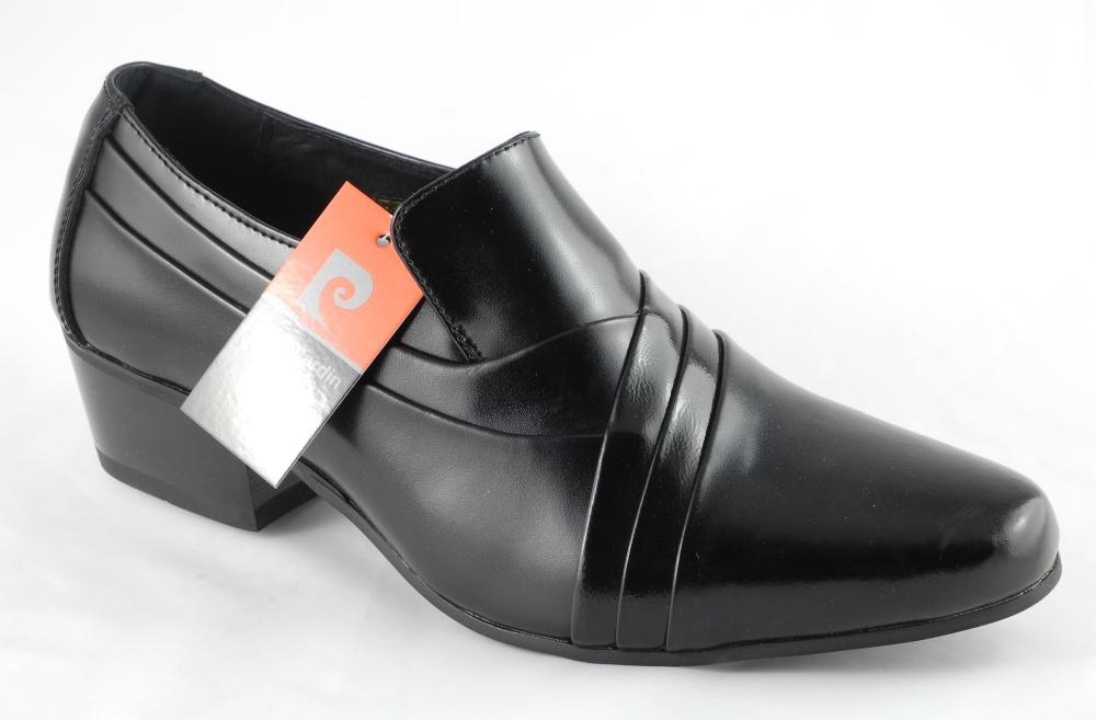 Image Is Loading Mens Pierre Cardin Cuban Heels Black Leather Slip