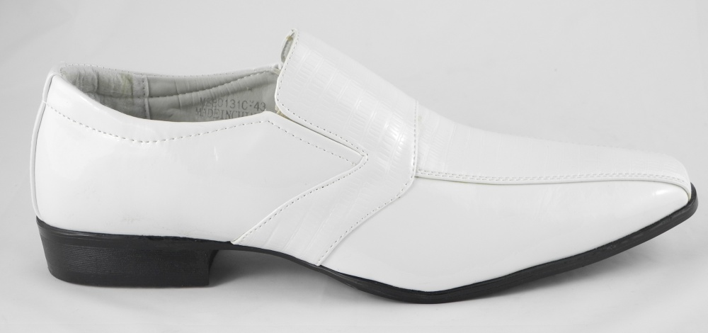 mens white patent leather look slip on wedding shoes size