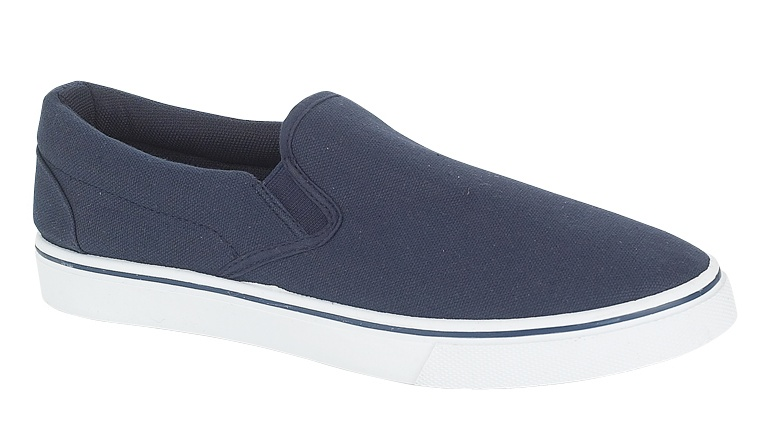 mens slip on pumps canvas deck shoes navy blue size 9