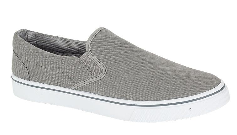 mens slip on pumps canvas deck shoes grey size 8 ebay