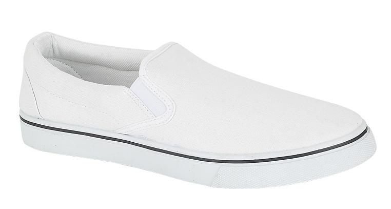 mens slip on pumps canvas deck shoes white size 8 ebay