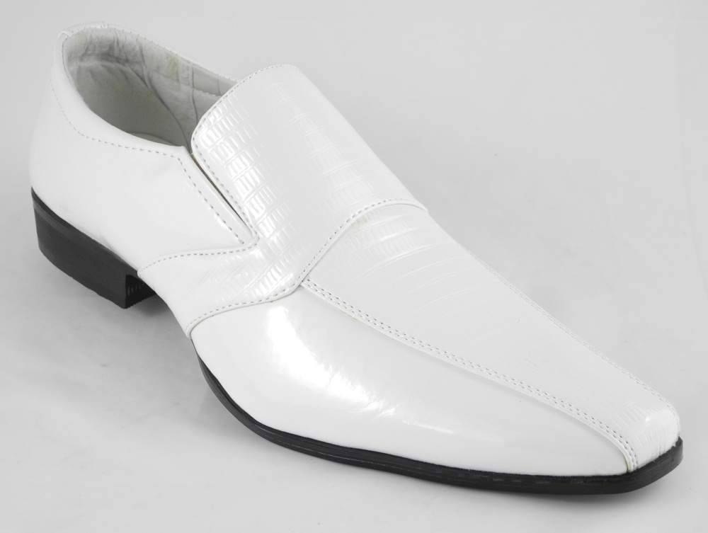 Mens White Patent Leather Look Slip On Wedding Shoes Size 6 7 8 9 10 11 12