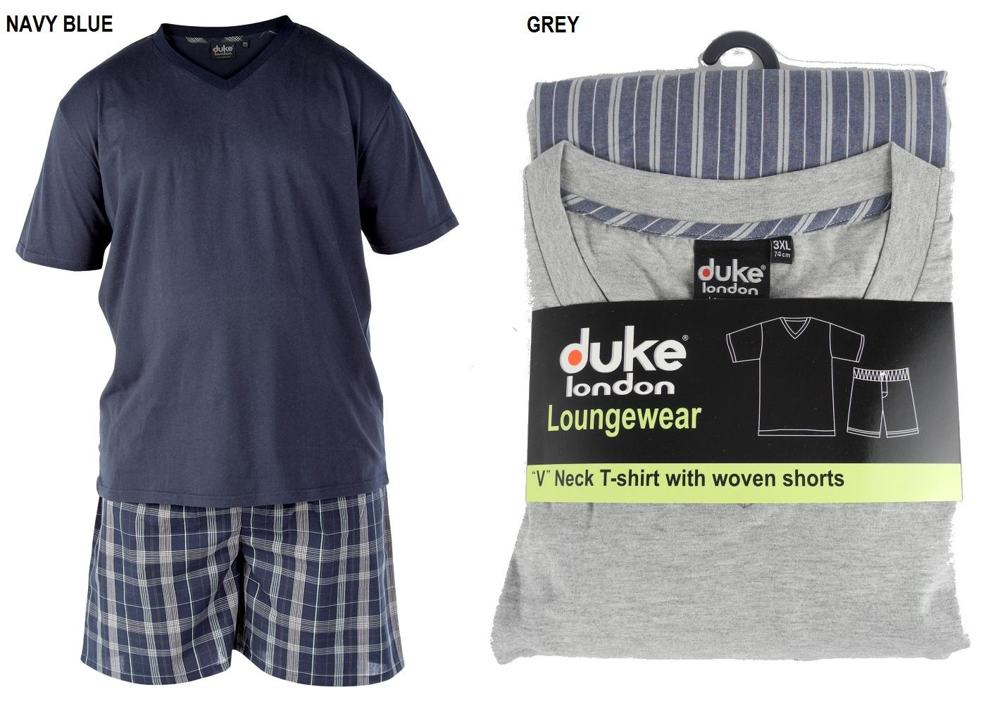 Mens duke kingsize t shirt shorts pyjamas set blue grey T shirt and shorts pyjamas