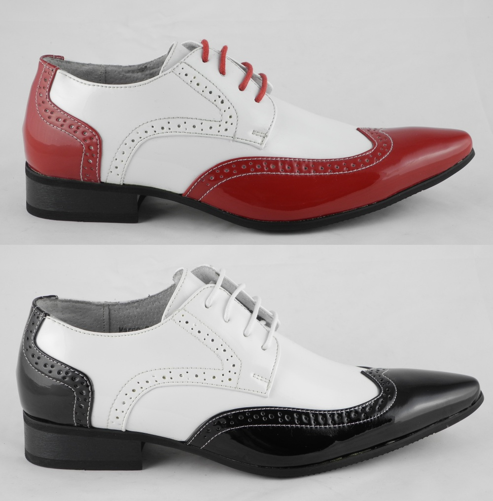 Ivory White Patent Leather Mens Shoes