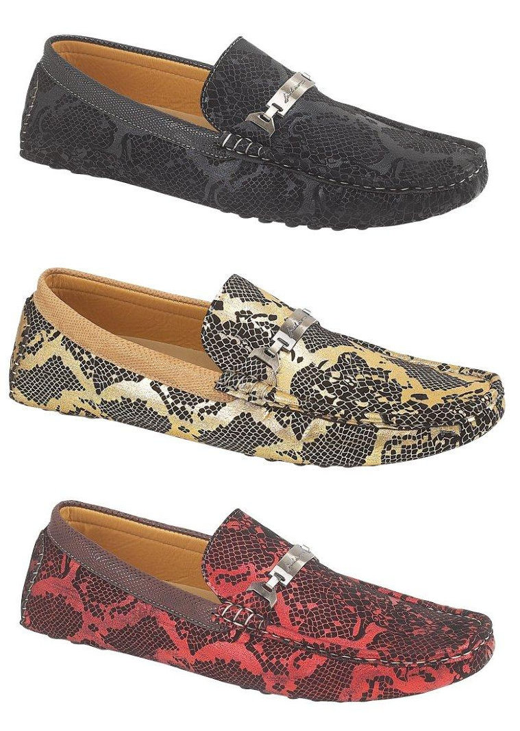 Red and Gold Loafers for Men