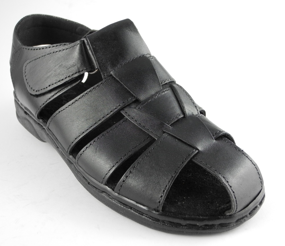 Mens Leather Closed Toe Velcro Jesus Sandals Shoes BLACK ...