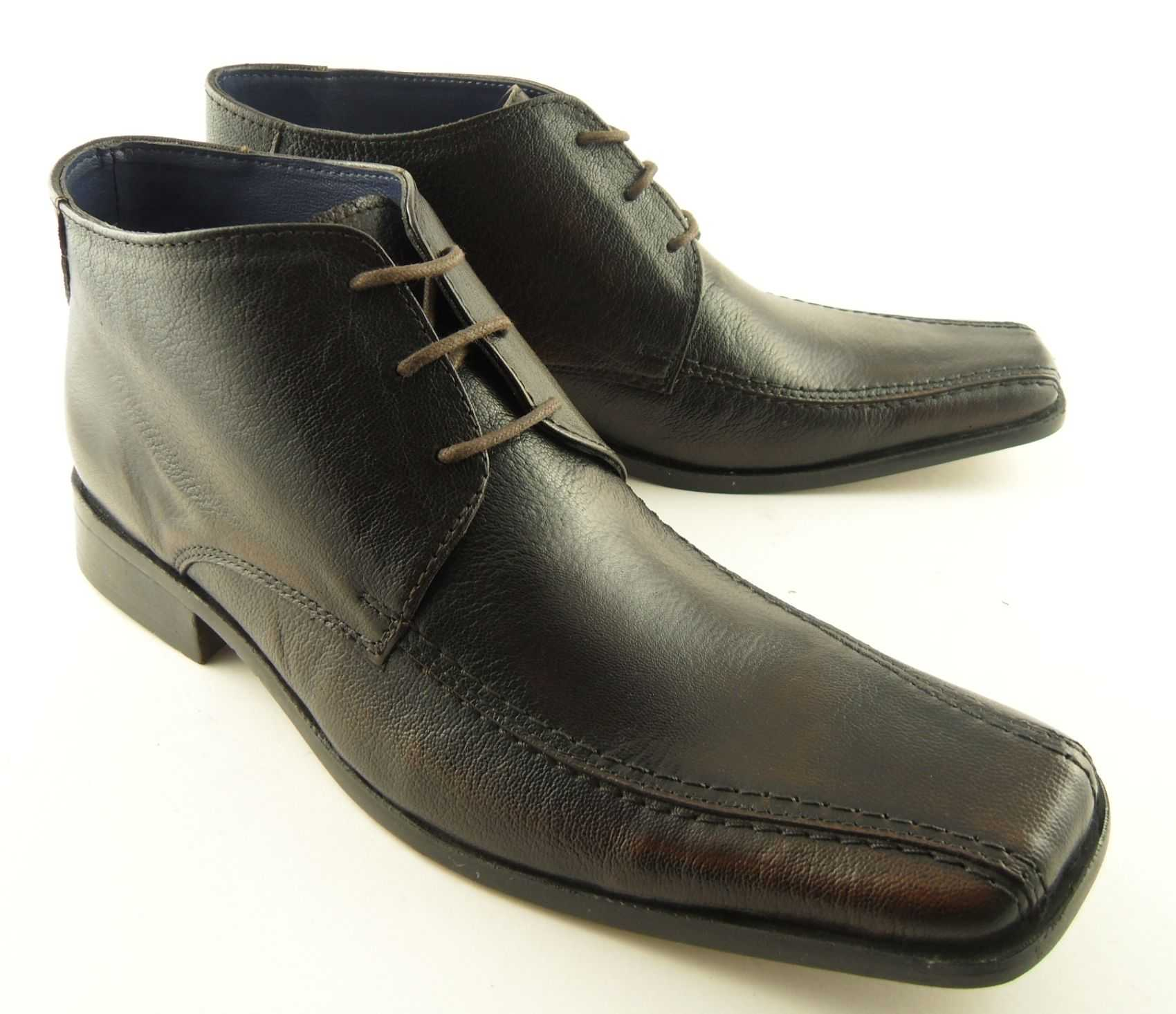 mens brown leather lace up ankle boots shoes sizes 6 12 ebay