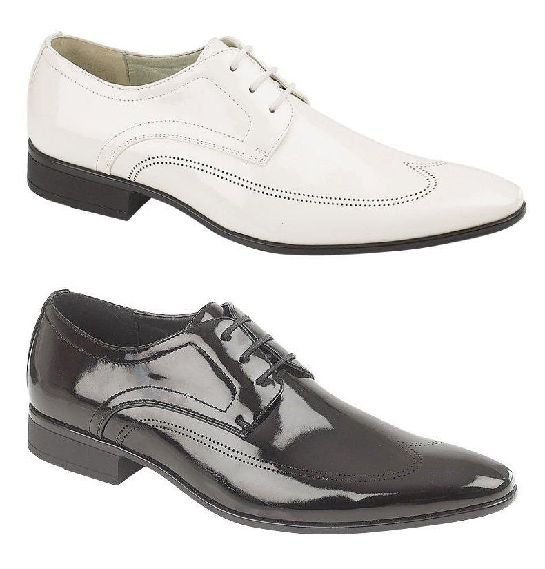 mens patent lace up brogues wedding shoes black white size