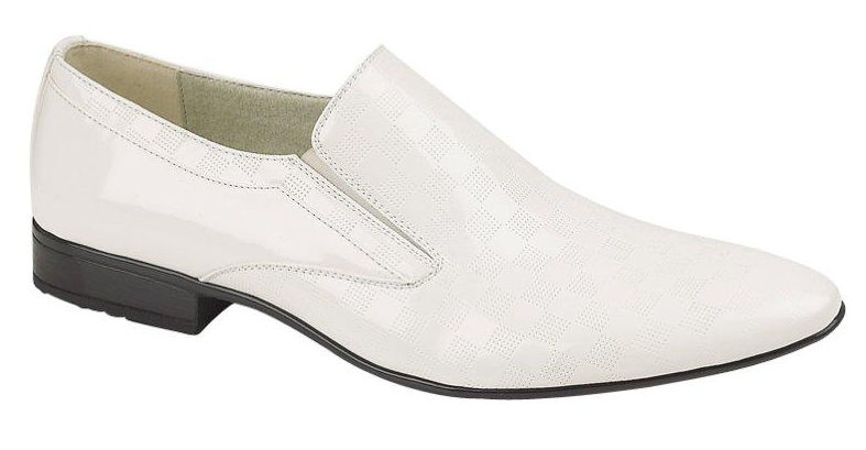 mens patent leather look slip on wedding shoes white size
