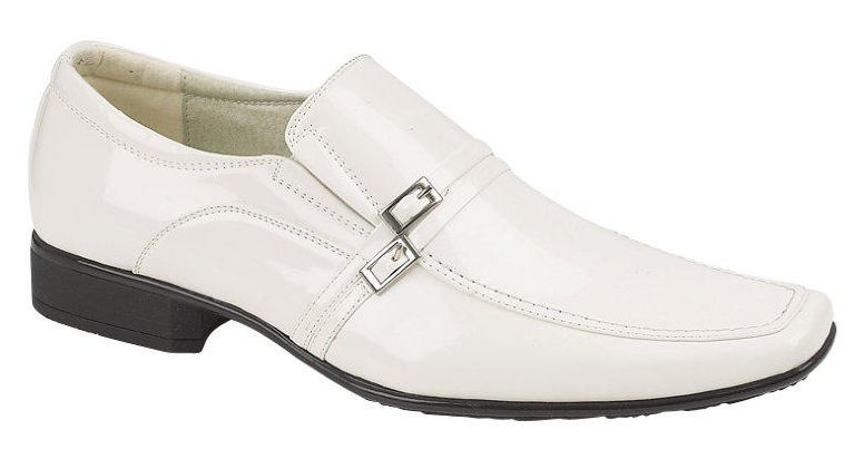 mens white patent leather look slip on loafers shoes with