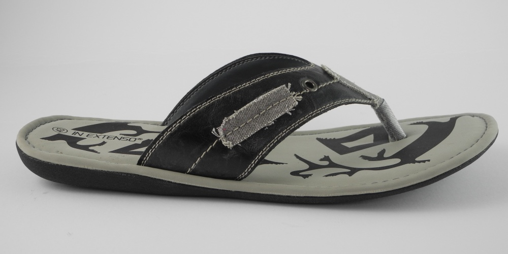 herren in extenso leder look zehensteg flip flops sandalen schwarz 6 12 ebay. Black Bedroom Furniture Sets. Home Design Ideas