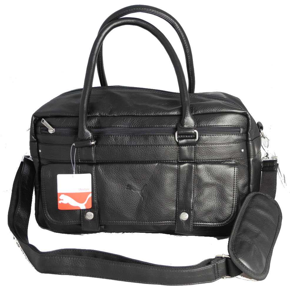 Puma Observer Black Leather Look Gym Holdall Sports Weekend