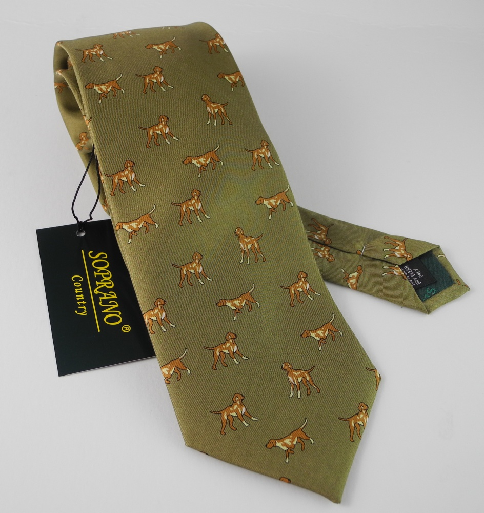... Soprano Green Silk Country Tie Springer Spaniel Dog Enlarged Preview