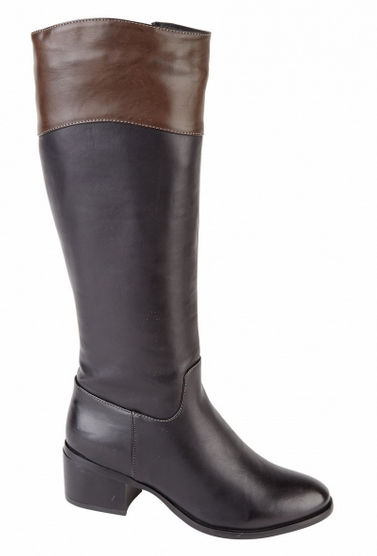 womens leather look knee length boots black brown