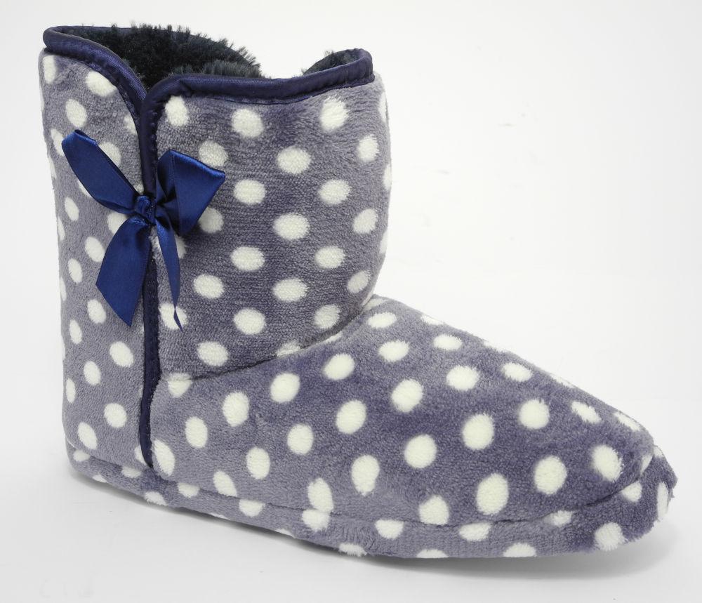 Ladies-Womens-Zedzzz-Plush-Velour-Fur-Boot-Bootie-Slippers-BLUE-LILAC