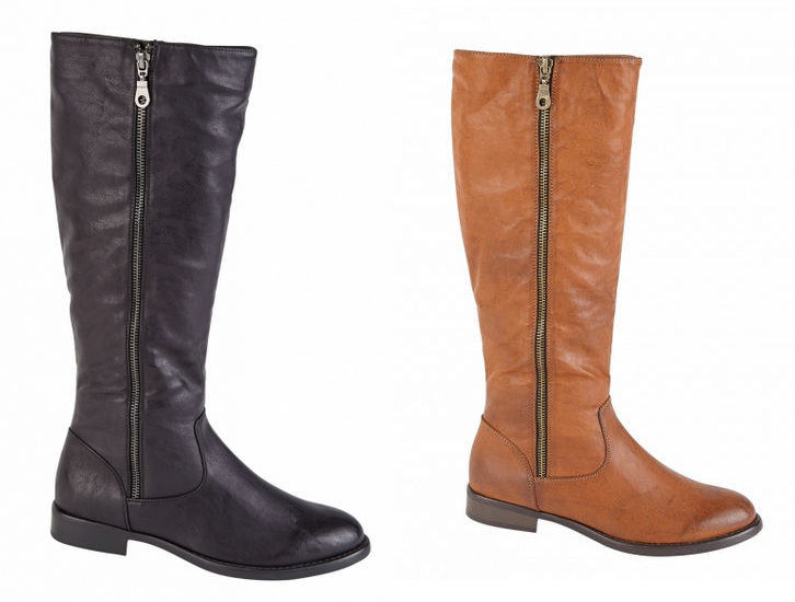 womens leather look knee length boots black