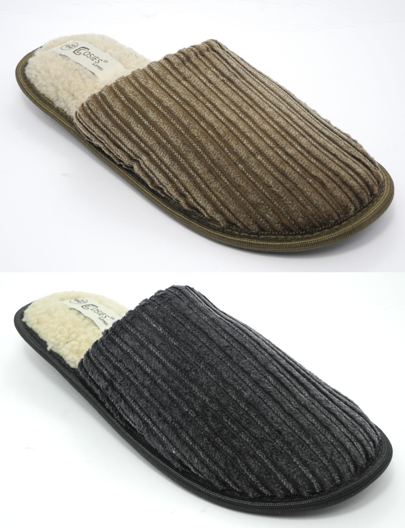 Mens COSIES Corduroy Faux Sheepskin Fur Lined Mules Slippers Size 6 7 8 9 10 11 Enlarged Preview