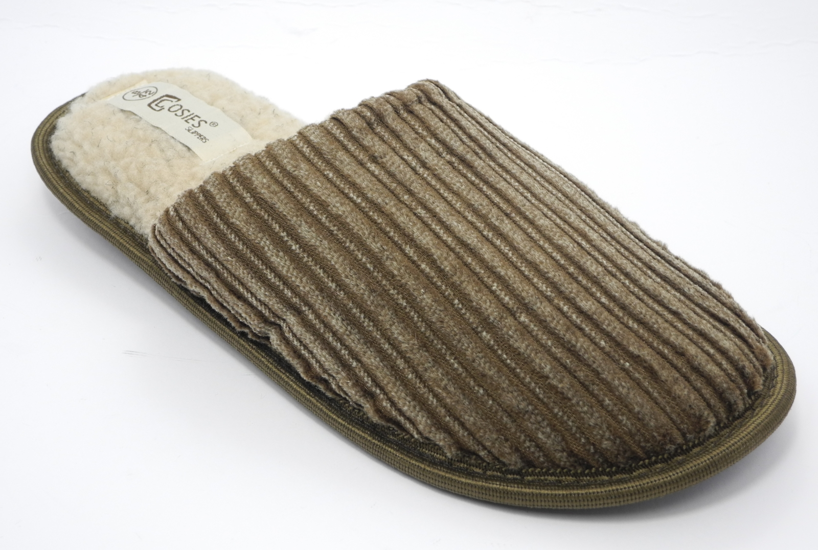 Mens-COSIES-Corduroy-Faux-Sheepskin-Fur-Lined-Mules-Slippers-Size-6-7-8-9-10-11