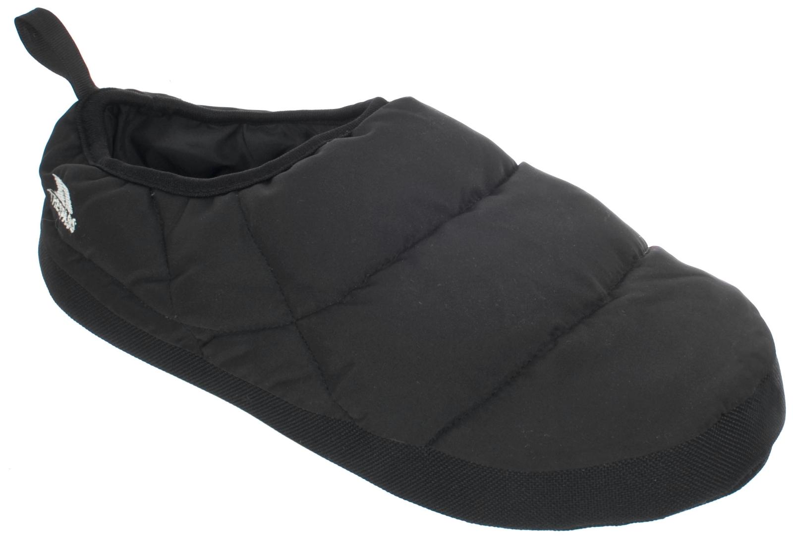 Mens Trespass Duck Down Padded Warm Duvet Slippers Black