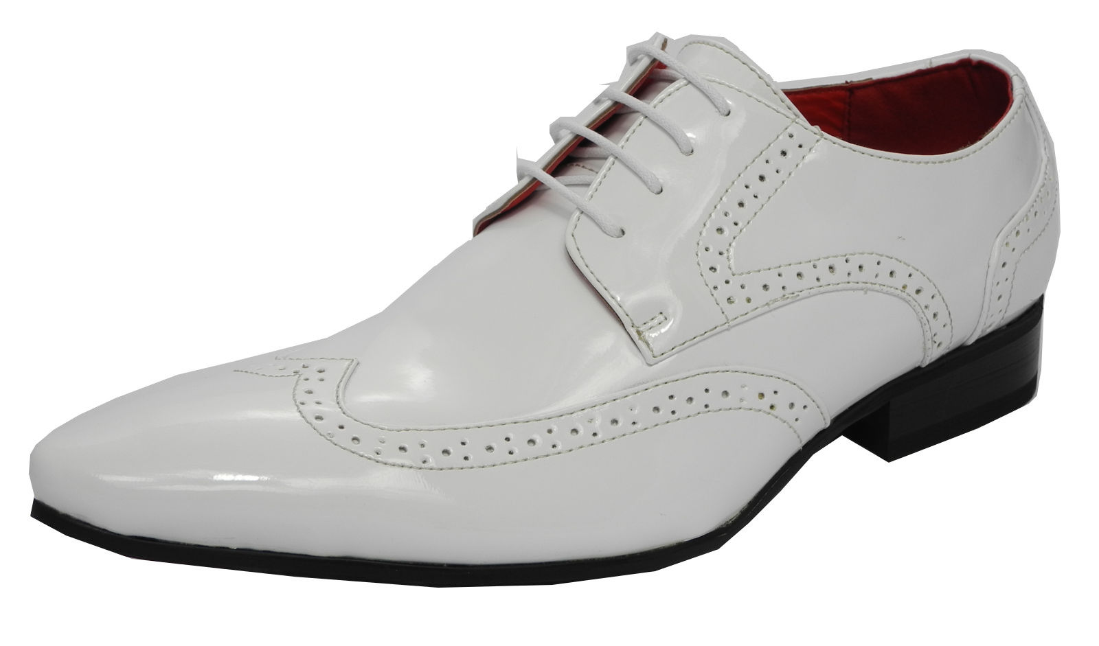 mens patent leather lined pointed toe brogues shoes white