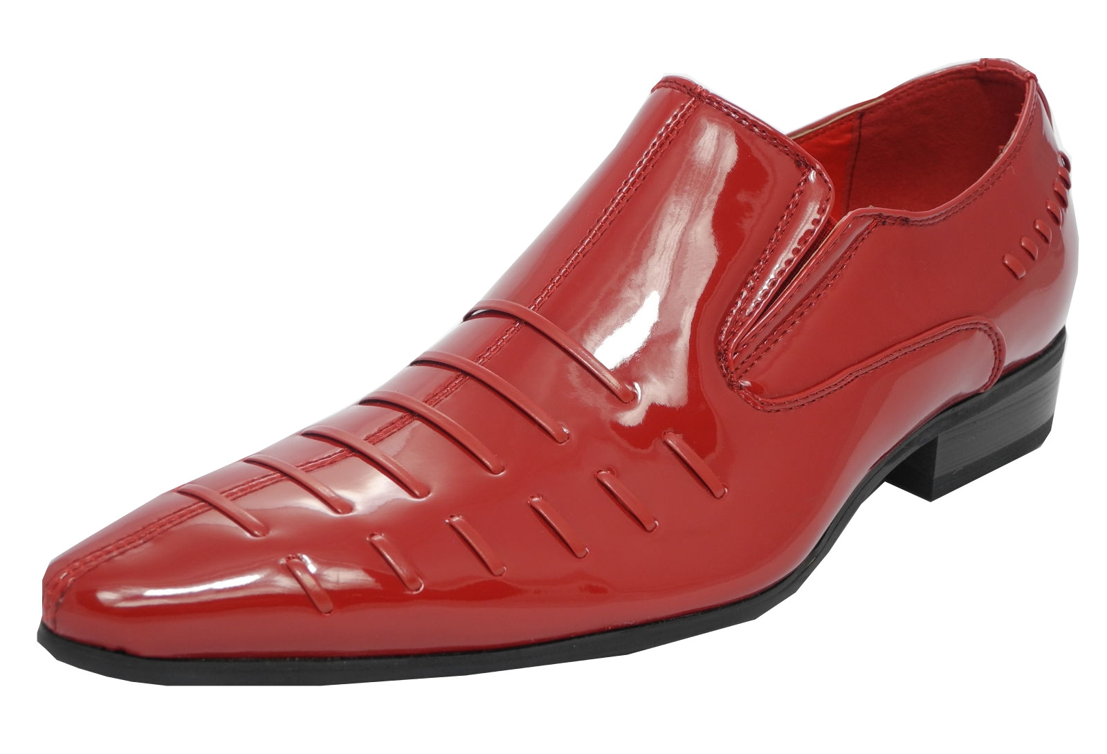Mens Patent Leather Look Pointed Toe Slip On Dress Shoes RED Size 10 Enlarged Preview