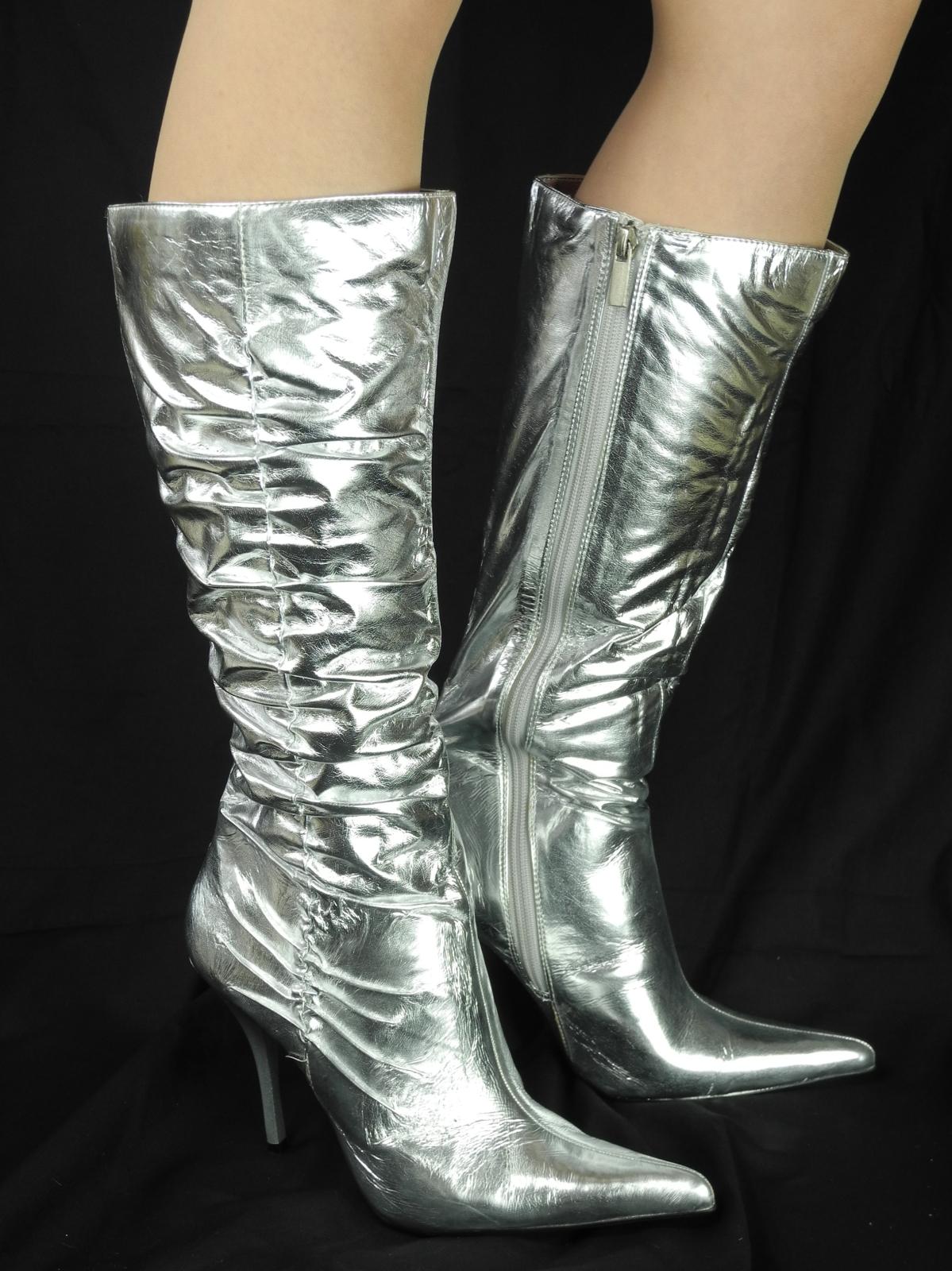 womens metallic silver high stiletto heel pointed toe boots retro fancy dress ebay