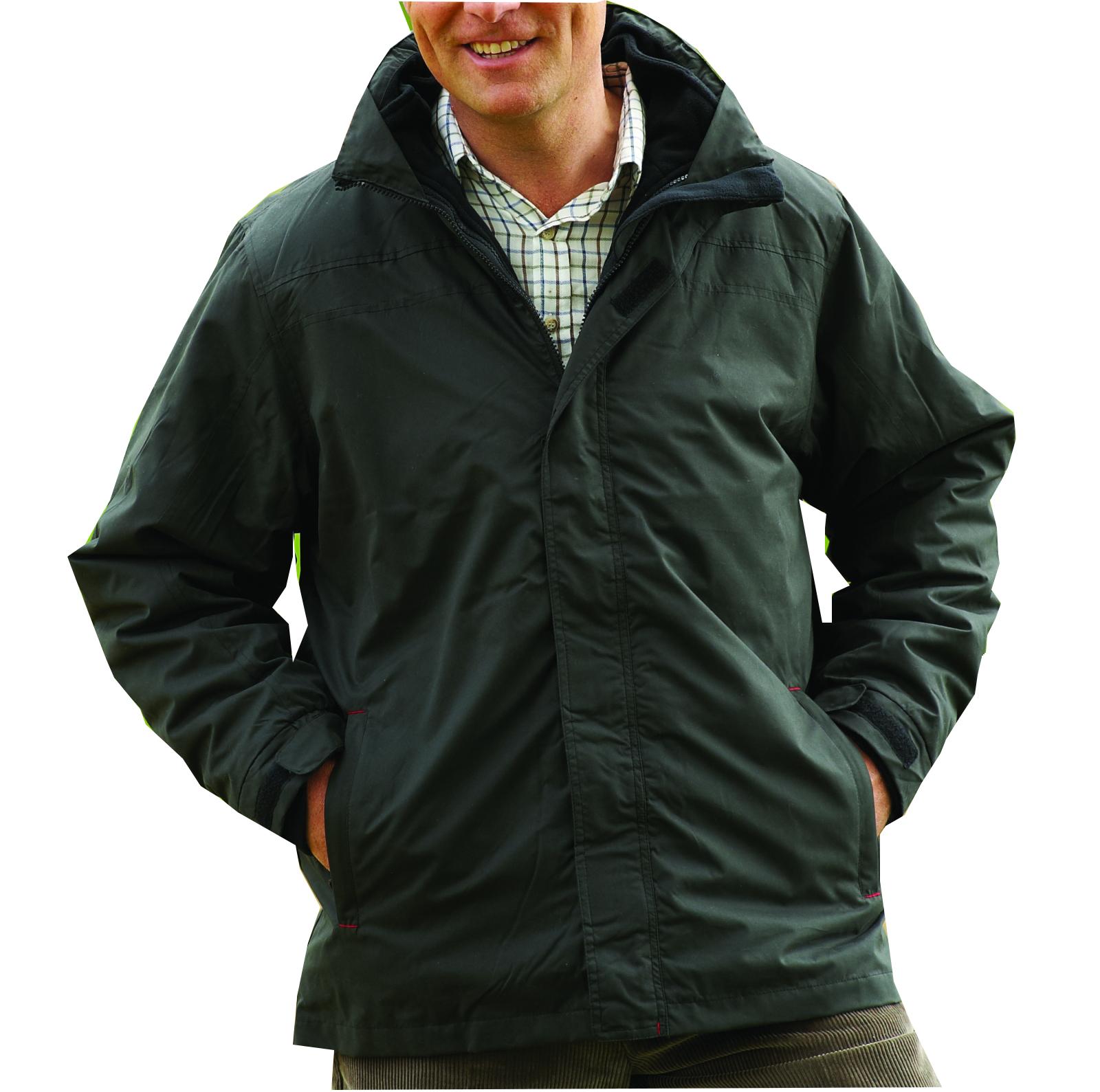 Mens Champion 3 in 1 Waterproof Jacket Detachable Fleece BLACK ...