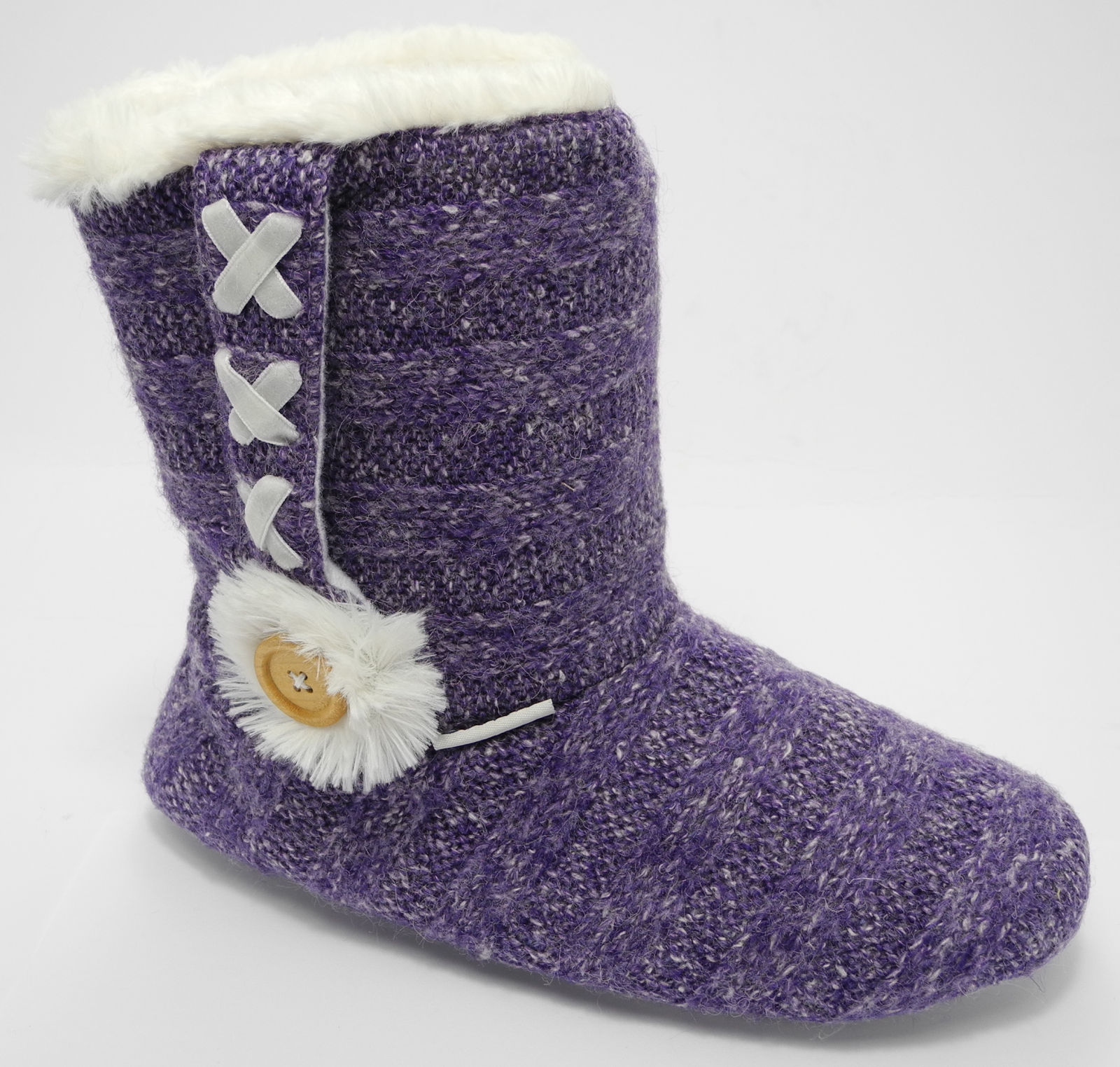 Womens Ladies Coolers Knitted Boots Bootie Fluffy Fur Slippers 3/4 5/6 7/8