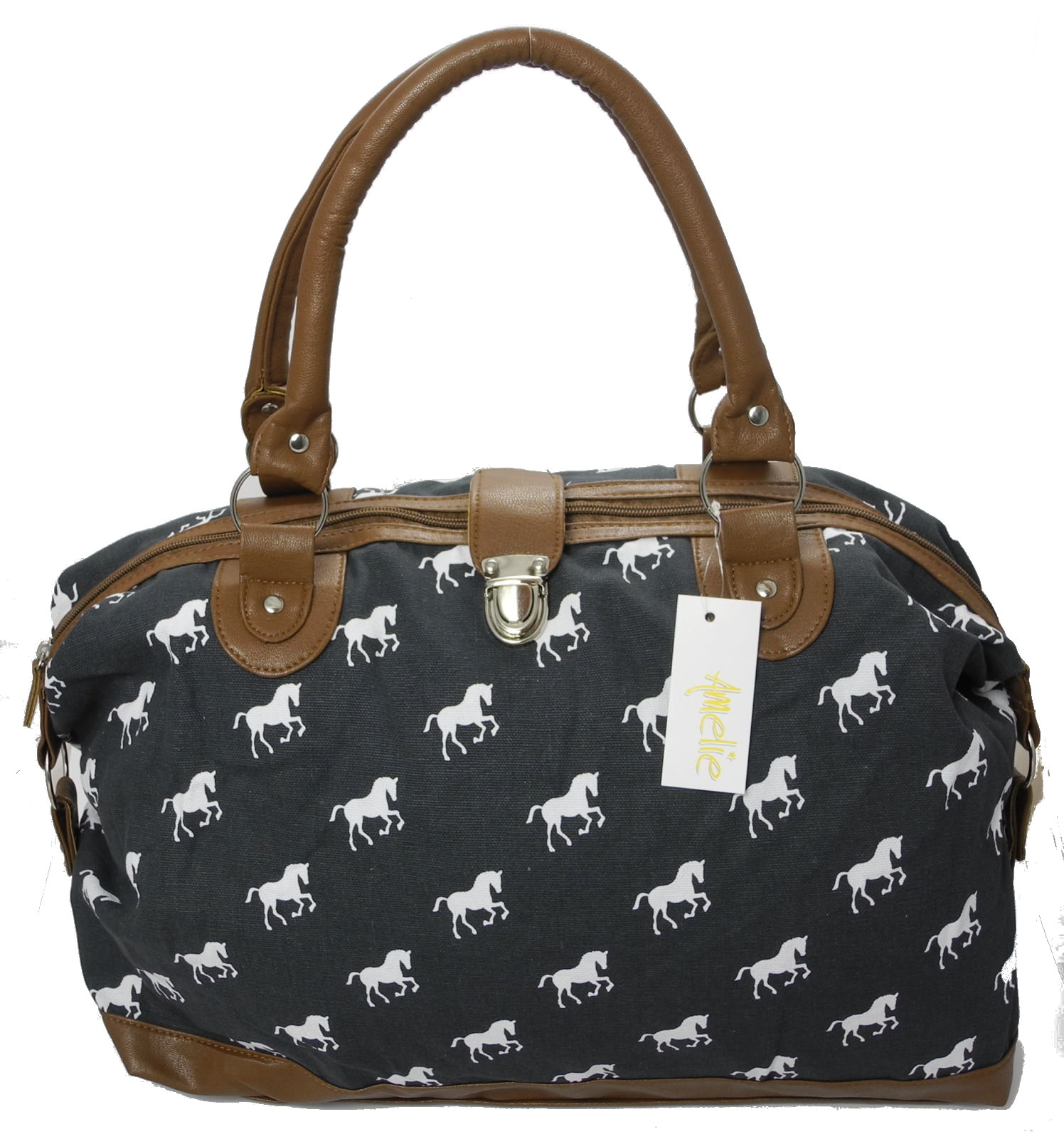 Ladies Canvas Horse Print Holdall Handbag Weekend Overnight Bag ...