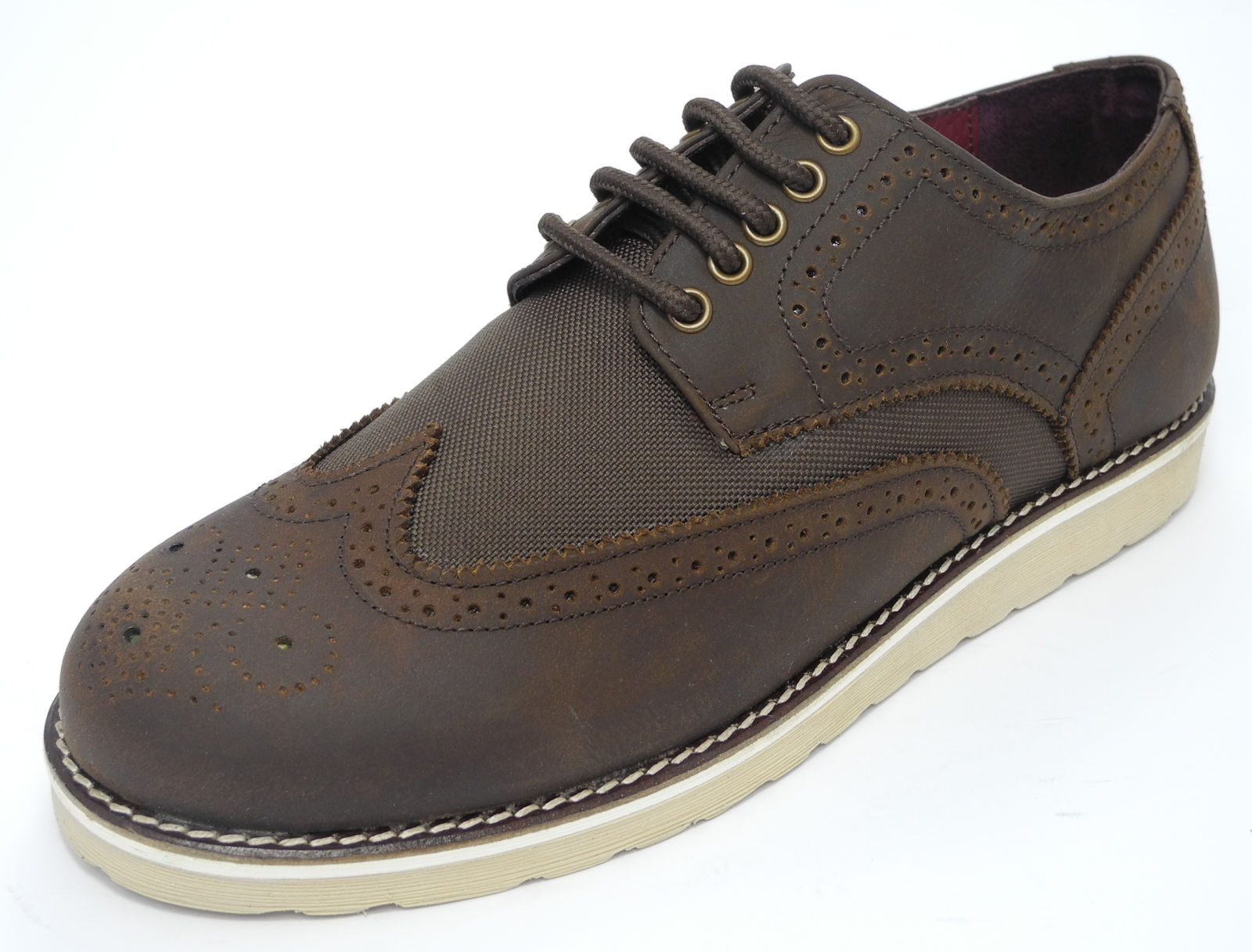 Mens Brown Real Leather Flat Sole Brogues Shoes Size 7 8 9 10 11 | EBay