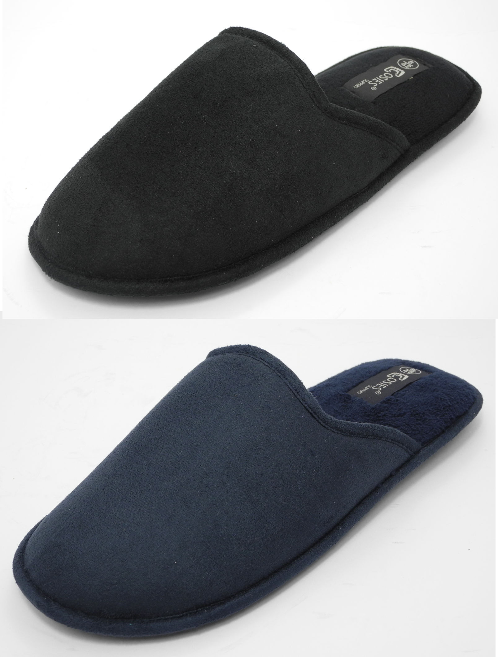 Mens COSIES Micro Suede Mules Mule Slippers BLACK BLUE Size 6 7 8 9 10 11 Enlarged Preview