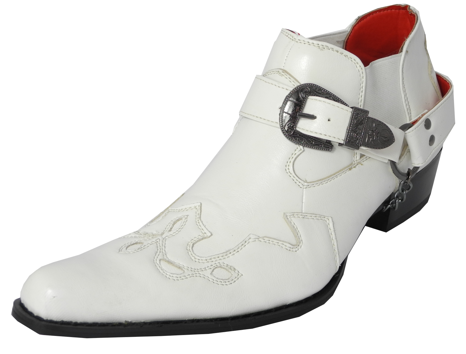 Mens Leather Look Cowboy Western Harness Chain Buckle Boots WHITE ...