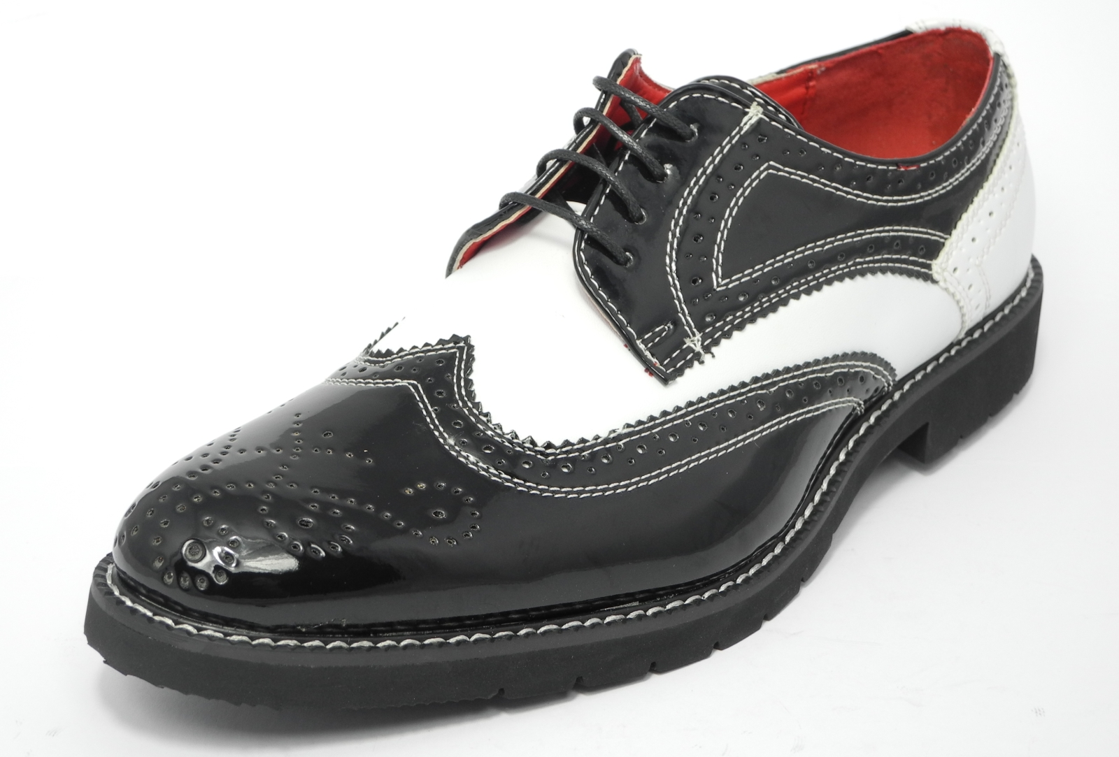 Mens Black And White Patent Leather Shoes