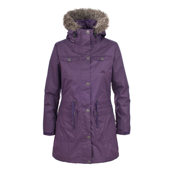 Womens Ladies Trespass Waterproof Long Jacket Parka Coat BLACK ...