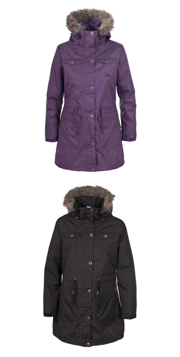 Womens Ladies Trespass Waterproof Long Jacket Parka Coat BLACK ...